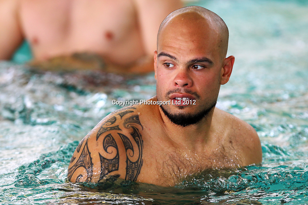 Sam Rapira, Swimming recovery session, The Vodafone Warriors begin their training ahead of the 2013 NRL rugby league season. Millennium Institute of Sport and Health, Albany, Auckland. 5 November 2012. Photo: William Booth/photosport.co.nz