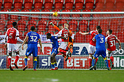 A good punch clear from AFC Wimbledon goalkeeper George Long (1), on loan from Sheffield United,  during the EFL Sky Bet League 1 match between Rotherham United and AFC Wimbledon at the AESSEAL New York Stadium, Rotherham, England on 3 February 2018. Picture by Simon Davies.