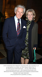 LADY ANNUNCIATA ASQUITH and the EARL OF LICHFIELD, at a reception in London on 25th March 2003.	PIK 11