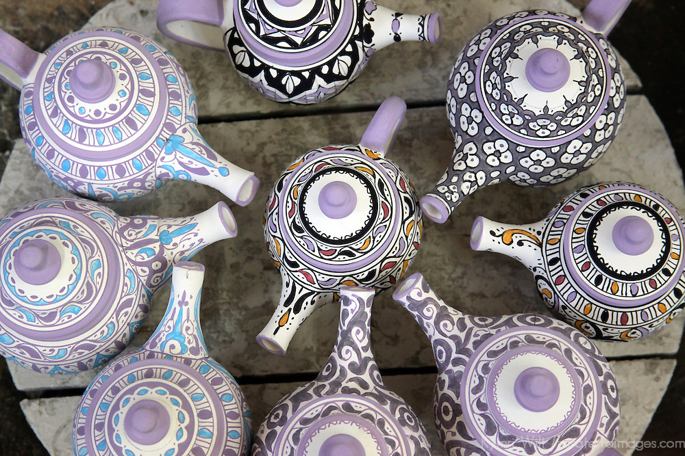 Africa, Morocco, Fes. Hand-painted teapots of Fes, ready for firing and glazing.