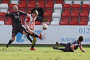 Kevin Ellison, Kyle Storer and Peter Murphy during the EFL Sky Bet League 2 match between Cheltenham Town and Morecambe at Whaddon Road, Cheltenham, England on 1 April 2017. Photo by Antony Thompson.