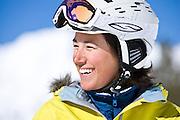 A woman enjoys ski touring in the Wasatch Mountain backcountry near Alta, Utah.