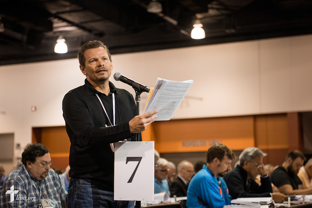 A delegate speaks Wednesday, July 13, 2016, at the 66th Regular Convention of The Lutheran Church–Missouri Synod, in Milwaukee. LCMS/Frank Kohn