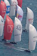 SPAIN, Valencia, April 6 2007,Louis Vuitton Act 13, Race 4, Fleet sailing downwind