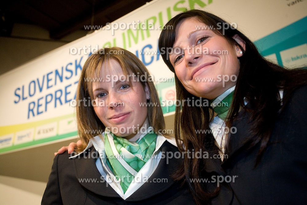 Vesna Fabjan and Katja Visnar at official presentation of Slovenian Olympic team for Olympic games Vancouver 2010, on January 27, 2010, at Ljubljana's Castle, Slovenia. (Photo by Vid Ponikvar / Sportida)