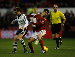 Nelson Oliveira of Nottingham Forest (R) and Scott Parker of Fulham in action - Mandatory byline: Jack Phillips / JMP - 07966386802 - 5/12/2015 - FOOTBALL - The City Ground - Nottingham, Nottinghamshire - Nottingham Forest v Fulham - Sky Bet Championship