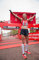 Paula Radcliffe after completing her final marathon at the Virgin Money London Marathon, Sunday 26th April 2015.<br /> <br /> Scott Heavey for Virgin Money London Marathon<br /> <br /> For more information please contact Penny Dain at pennyd@london-marathon.co.uk