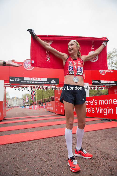 Paula Radcliffe after completing her final marathon at the Virgin Money London Marathon, Sunday 26th April 2015.<br /> <br /> Scott Heavey for Virgin Money London Marathon<br /> <br /> For more information please contact Penny Dain at pennyd@london-marathon.co.uk