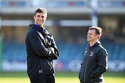 Bath Rugby Assistant Coach Luke Charteris speaks with Ulster Assistant Coach Dwayne Peel prior to the match - Mandatory byline: Patrick Khachfe/JMP - 07966 386802 - 16/11/2019 - RUGBY UNION - The Recreation Ground - Bath, England - Bath Rugby v Ulster Rugby - Heineken Champions Cup