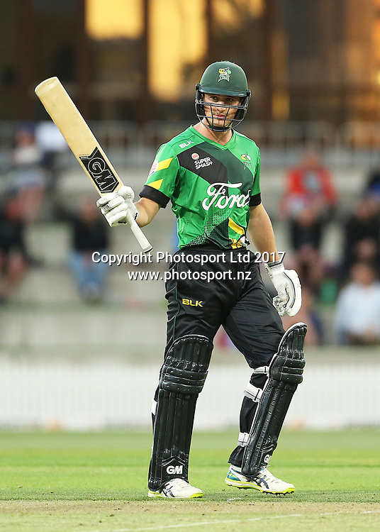 Stags Will Young reaches 50 during the Burger King Super Smash Twenty20 cricket match Knights v Stags played at Bay Oval, Mount Maunganui, New Zealand on Wednesday 27 December 2017.<br /> <br /> Copyright photo: © Bruce Lim / www.photosport.nz