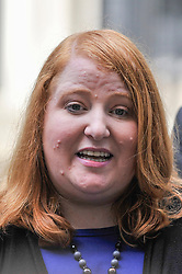 © Licensed to London News Pictures. 15/06/2017. London, UK. Naomi Long, leader of the Alliance Party, gives a press conference outside Number 10.  Members of the Northern Ireland Assembly visit Downing Street for talks with Prime Minister Theresa May following the results of the General Election.  The Conservatives are seeking to work with the Democratic Unionist Party in order to form a minority government. Photo credit : Stephen Chung/LNP
