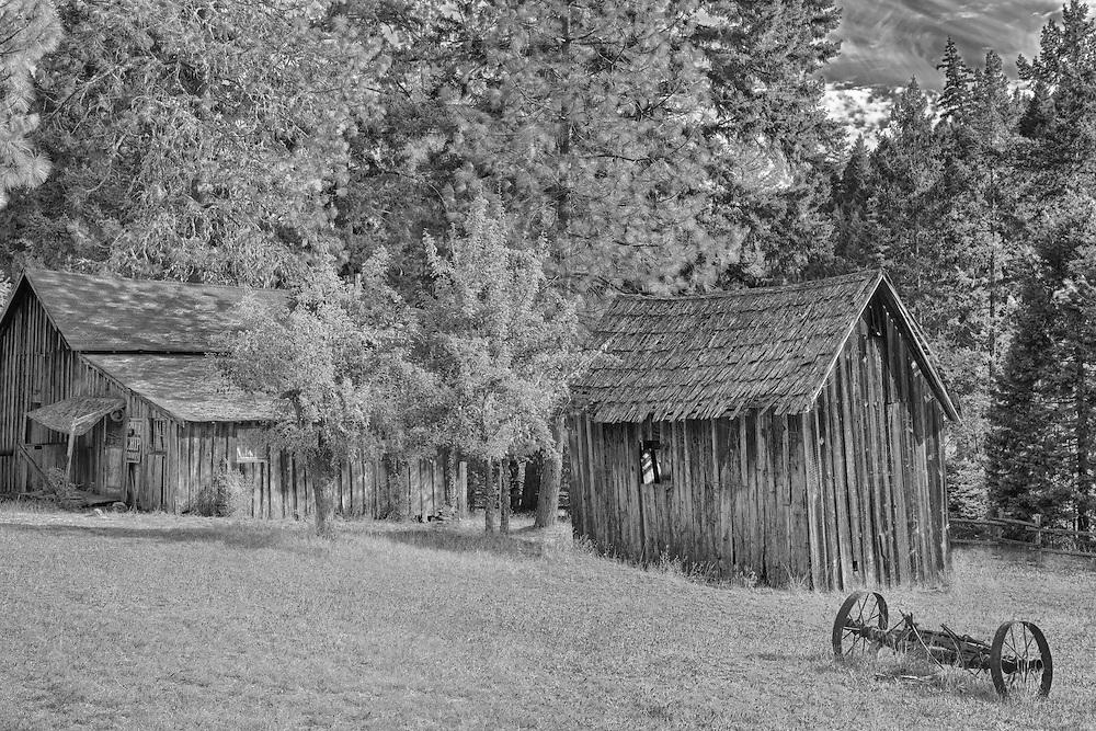 Wooden Shacks - Golden, Oregon - HDR - Infrared Black & White