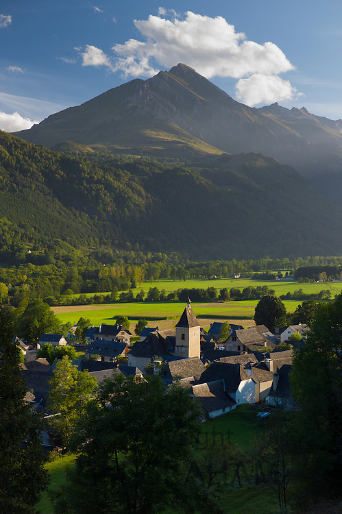 Town of Auchun and traditional church in the Pyrenees National Park, France
