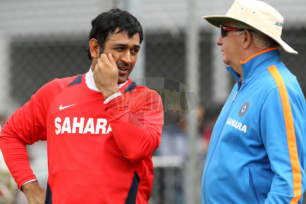 MS Dhoni and Duncan Fletcher during the Indian team practice session held at Edgbaston Cricket ground in Birmingham on the 8th August 2011...Photo by Ron Gaunt/SPORTZPICS/BCCI