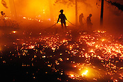 Firefighters advance on a wildfire in Kelowna's Knox Mountain Park on August 18, 2010.