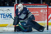 KELOWNA, CANADA - JANUARY 5: Liam Hughes #30 of the Seattle Thunderbirds defends in net against the Kelowna Rockets on January 5, 2017 at Prospera Place in Kelowna, British Columbia, Canada.  (Photo by Marissa Baecker/Shoot the Breeze)  *** Local Caption ***