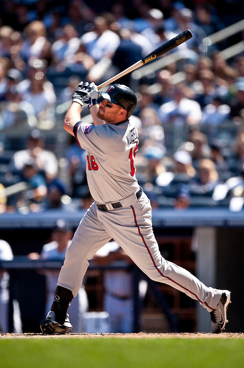 NEW YORK - MAY 16: Jason Kubel #16 of the Minnesota Twins bats against the New York Yankees at Yankee Stadium on May 16, 2010 in the Bronx borough of Manhattan. The Twins defeated the Yankees 6 to 3. (Photo by Rob Tringali) *** Local Caption *** Jason Kubel