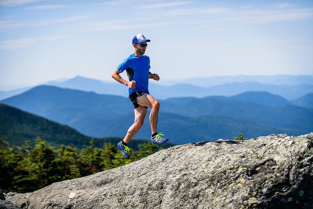 Josh trail running on Mount Mansfield, VT