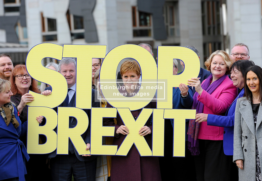 Pictured: SNP leader Nicola Sturgeon launches the campaign with fellow msp's and candidates.<br /> <br /> The SNP launched their general election campaign at Dynamic Earth in Edinburgh.<br /> <br /> © Dave Johnston / EEm