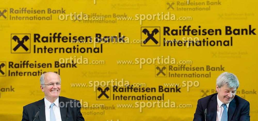 15.03.2017, Raiffeisen Zentrale, Wien, AUT, Raiffeisen Bank International AG (RBI), Pressekonferenz zum Geschäftsjahr 2016, im Bild v.l.n.r. scheidender Vorstandsvorsitzender Karl Sevelda und designierter Vorstandsvorsitzender Johann Strobl // f.l.t.r. outgoing CEO Karl Sevelda and designated CEO Johann Strobl during annual result press conference of the banking establishment Raiffeisen Bank International in Vienna, Austria on 2017/03/15, EXPA Pictures © 2017, PhotoCredit: EXPA/ Michael Gruber