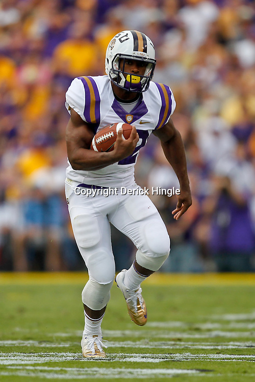 October 22, 2011; Baton Rouge, LA, USA; LSU Tigers running back Michael Ford (42) against the Auburn Tigers during the second half at Tiger Stadium. LSU defeated Auburn 45-10. Mandatory Credit: Derick E. Hingle-US PRESSWIRE / © Derick E. Hingle 2011