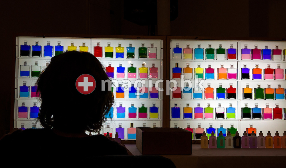 A participant looks at a set of Equilibrium bottles during the Aura-Soma Essentials and Essentials Instructor course in Grossgmain near Salzburg, Austria, Thursday, Nov. 26, 2015. (Photo by Patrick B. Kraemer / MAGICPBK)