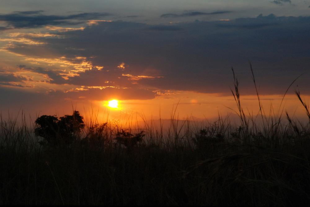Sunrise. Hluhluwe-Imfolozi Game Reserve, KwaZulu-Natal province of South Africa.
