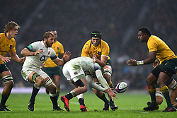 November 18, 2017 - London, England, United Kingdom - England's Jonny May gets tackled by Australias Rob Simmons during Old Mutual Wealth Series between England against Argentina at Twickenham stadium , London on 11 Nov 2017  (Credit Image: © Kieran Galvin/NurPhoto via ZUMA Press)
