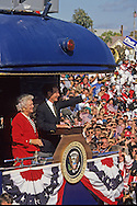 George  HW Bush  (Bush 41), on  a train campaign in October 1992..Photograph by Dennis Brack bb24