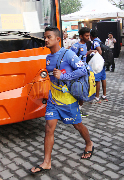 Pawan Negi of The Chennai Superkings arrive before  match 26 of the Pepsi Indian Premier League Season 2014 between the Delhi Daredevils and the Chennai Superkings held at the Ferozeshah Kotla cricket stadium, Delhi, India on the 5th May  2014<br /> <br /> Photo by Arjun Panwar / IPL / SPORTZPICS<br /> <br /> <br /> <br /> Image use subject to terms and conditions which can be found here:  http://sportzpics.photoshelter.com/gallery/Pepsi-IPL-Image-terms-and-conditions/G00004VW1IVJ.gB0/C0000TScjhBM6ikg