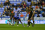 Reading's Aaron Tshibola holds off Everton's defender Phil Jagielka during the Capital One Cup match between Reading and Everton at the Madejski Stadium, Reading, England on 22 September 2015. Photo by Mark Davies.