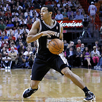 17 January 2012: San Antonio Spurs guard Cory Joseph (5) dribbles during the Miami Heat 120-98 victory over the San Antonio Spurs at the AmericanAirlines Arena, Miami, Florida, USA.