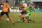 Forest Green Rovers Dayle Grubb(8) passes the ball under pressure from Barnet's Charlie Clough(4) during the EFL Sky Bet League 2 match between Barnet and Forest Green Rovers at The Hive Stadium, London, England on 7 April 2018. Picture by Shane Healey.