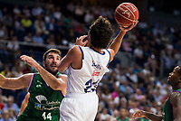 Real Madrid's player Sergio Llull and Unicaja Malaga's player Dejan Musli during match of Liga Endesa at Barclaycard Center in Madrid. September 30, Spain. 2016. (ALTERPHOTOS/BorjaB.Hojas)