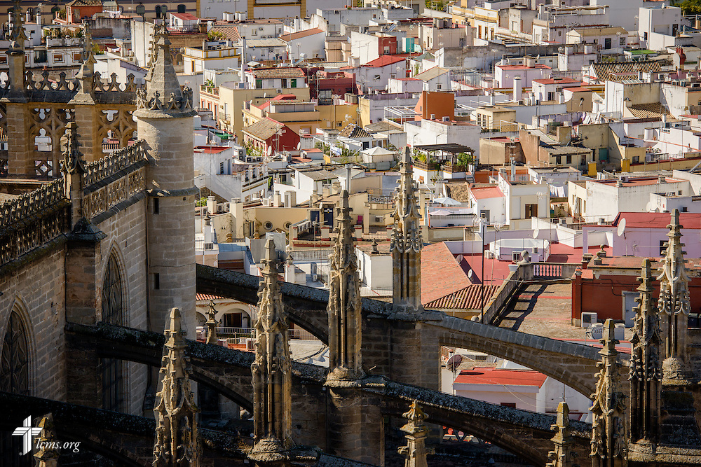 The Seville Cathedral and surrounding city of Seville seen from the Giralda bell tower, on Monday, Nov. 7, 2016, in Spain. LCMS Communications/Erik M. Lunsford