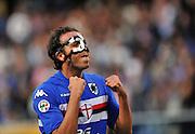 A masked Pazzini celebrates scoring for Inter Milan. 24th October 2009.