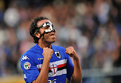 A masked Pazzini celebrates scoring for Inter Milan. 24th October 2009.