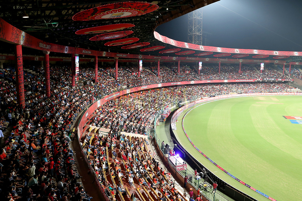 Spectators during match 5 of the Vivo 2017 Indian Premier League between the Royal Challengers Bangalore and the Delhi Daredevils held at the M.Chinnaswamy Stadium in Bangalore, India on the 8th April 2017<br /> <br /> Photo by Faheem Hussain - IPL - Sportzpics