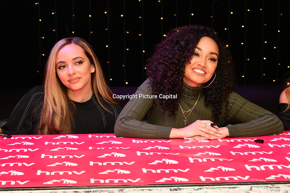 Leigh‑Anne Pinnock and Jesy Nelson sign copies of their latest album 'LM5' at hmv Oxford Street on 19 November 2018, London, UK.