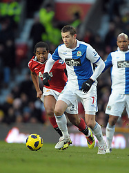Brett Emerton (Blackburn) takes on Anderson during the Barclays Premier League match between Manchester United and Blackburn Rovers at Old Trafford on November 27, 2010 in Manchester, England.