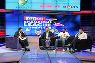Pumi, HD Ackerman, Dwayne Bravo and Sundar Raman on the Supersport Set during the CLT20 live broadcast party held at the Supersport Studios in Johannesburg on the 8 September held as part of the build up to the Champions League T20 tournament being held in South Africa between the 10th and 26th September 2010..Photo by: Ron Gaunt/SPORTZPICS/CLT20