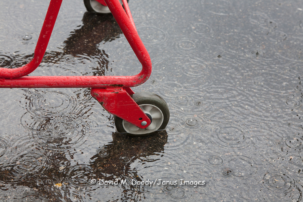 Rain drops on a flooded supermarket parking lot with a red shopping cart, Virginia.