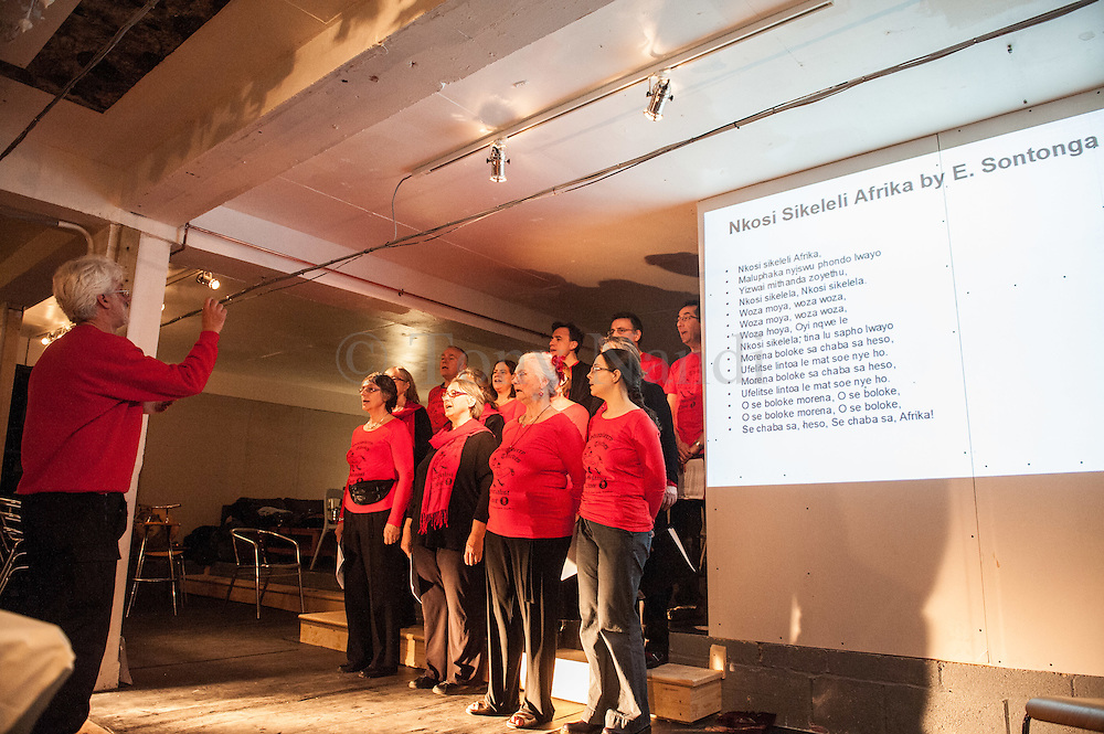 As part of Telegraph Hill Festival 2012, a night of poetry, prose and songs by the Strawberry Thieves Socialist Choir. The evening tells the history of political struggles around the world, past and present. © Tony Nandi