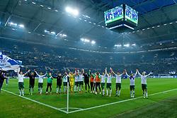 03.02.2018, Veltins Arena, Gelsenkirchen, GER, 1. FBL, Schalke 04 vs SV Werder Bremen, 21. Runde, im Bild die Mannschaft lässt sich nach dem Abpfiff feiern vor dem Gästeblock // during the German Bundesliga 21th round match between Schalke 04 and SV Werder Bremen at the Veltins Arena in Gelsenkirchen, Germany on 2018/02/03. EXPA Pictures © 2018, PhotoCredit: EXPA/ Andreas Gumz<br /> <br /> *****ATTENTION - OUT of GER*****