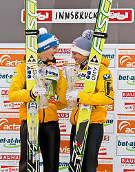 04.01.2012, Bergisel-Stadion, Innsbruck, AUT, 60. Vierschanzentournee, FIS Ski Sprung Weltcup, Podium, im Bild Gregor Schlierenzauer (AUT, 2. Platz) // Gregor Schlierenzauer of Austria  second place und Andreas Kofler (AUT , 1. Platz) // Andreas Kofler of Austria first place on Podium of 60th Four-Hills-Tournament FIS World Cup Ski Jumping at Bergisel-Stadion, Innsbruck, Austria on 2012/01/04. EXPA Pictures © 2012, PhotoCredit: EXPA/ Peter Rinderer