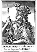 Atahualpa (d1553) last Inca emperor of Peru. Captured by Pizarro who, after extorting a huge ransom, put him to death for heresy (against Christianity). Copperplate engraving, 1686.