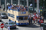 Chelsea supporters arrive at the stadium by open top bus during the The FA Cup final match between Arsenal and Chelsea at Wembley Stadium, London, England on 27 May 2017. Photo by Shane Healey.