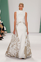 Devon Windsor walks the runway wearing Carolina Herrera Spring 2015 during Mecedes-Benz Fashion Week in New York on September 8th, 2014
