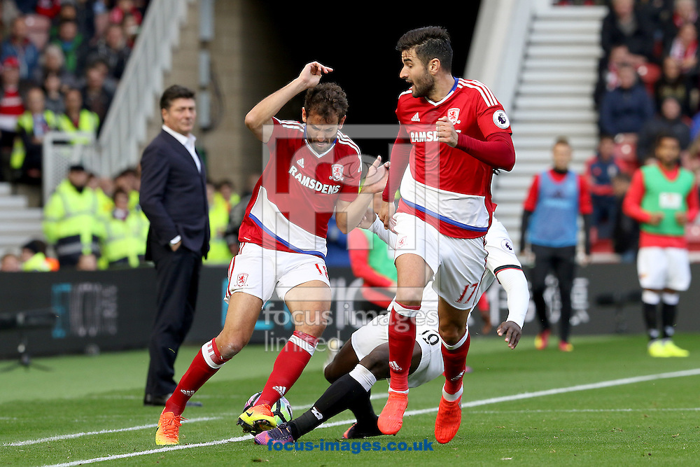Cristhian Stuani of Middlesbrough is challenged by Isaac Success of Watford during the Premier League match at the Riverside Stadium, Middlesbrough<br /> Picture by Robert Smith/Focus Images Ltd 07837 882029<br /> 16/10/2016