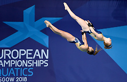 Sweden's Ellen Ek and Isabelle Svantesson during the Women's Synchronised 10m Platform Final during day six of the 2018 European Championships at Scotstoun Sports Campus, Glasgow. PRESS ASSOCIATION Photo. Picture date: Tuesday August 7, 2018. See PA story DIVING European. Photo credit should read: Ian Rutherford/PA Wire. RESTRICTIONS: Editorial use only, no commercial use without prior permission
